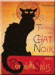Chic French Black Cat Chat Noir Metal Sign Plaque